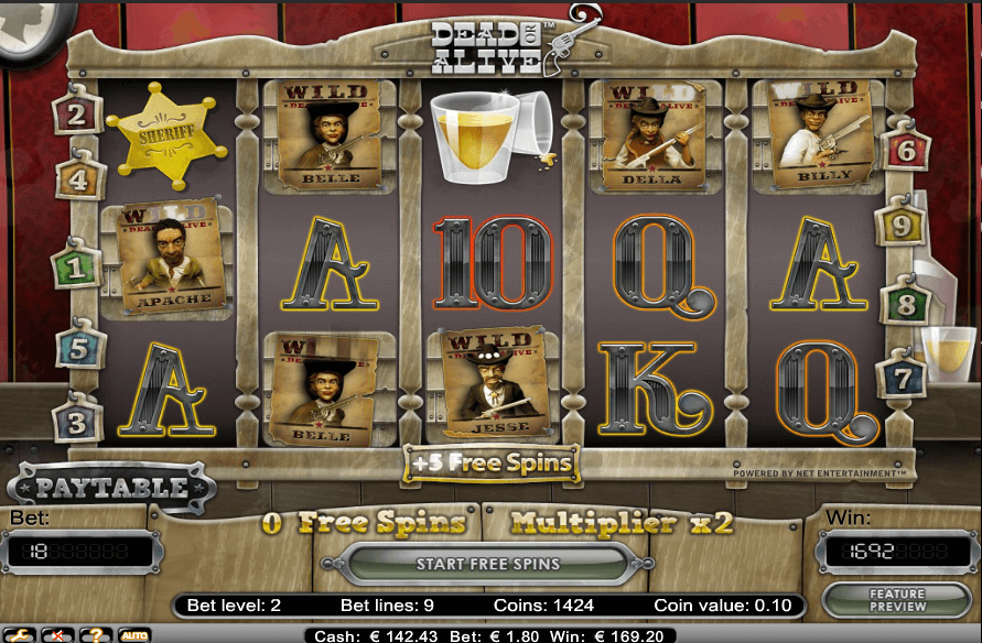 dead or alive free spins feature
